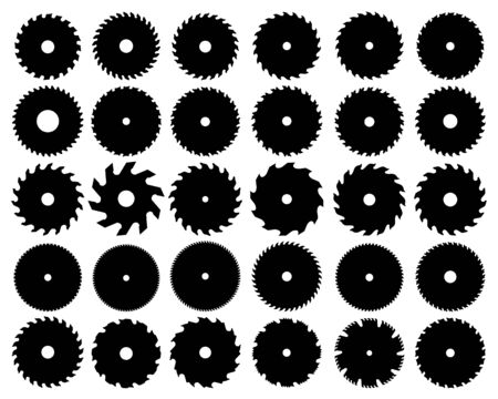 Black  silhouettes of different circular saw blades, vector Çizim