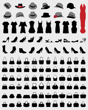 women's shoes: Silhouettes of womens  hats, dress, handbags and shoes