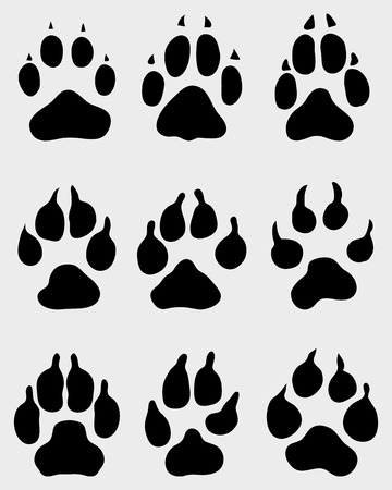 animal foot: Black print of paw of dogs, vector illustration