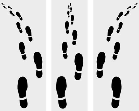 biometrics: Trail of prints of shoes, vector illustration Illustration