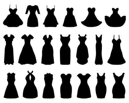 white dresses: Silhouettes of different cocktail dresses, vector illustration