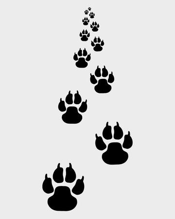 Schwarz Spuren der Hund nach vorne, Vektor-Illustration