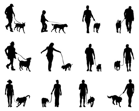 dog leash: Black silhouettes  of people and dogs, vector