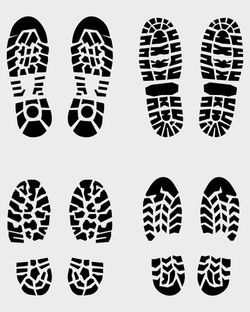 forensic: Various prints of shoes, vector