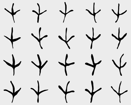 Black traces of birds, seamless vector wallpaper Illustration