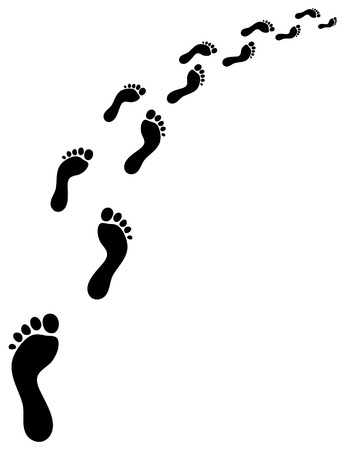 feet: Trail of human bare footsteps, turn right