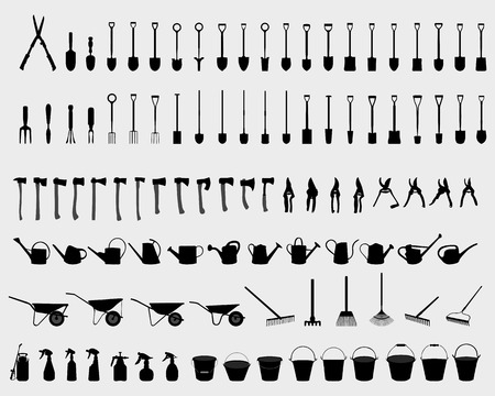 pick axe: Black silhouettes of garden tools, vector