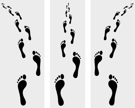 toe: Trail of human bare footsteps, vector illustration