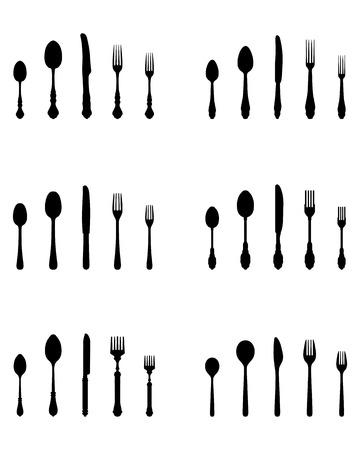 Black silhouettes of three cutlery, vector Illustration