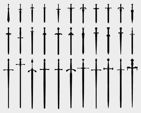 Black silhouettes of swords on a white background, vector Vector