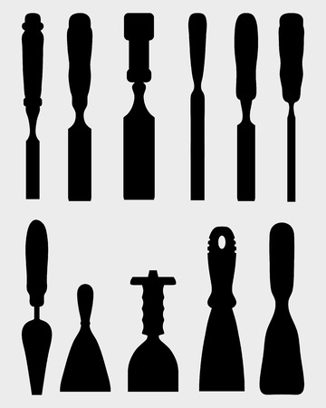 chisel: Black silhouettes of different chisels, vector Illustration