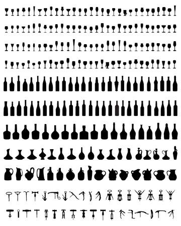 Silhouettes of bottles, glasses and corkscrew, vector Vettoriali