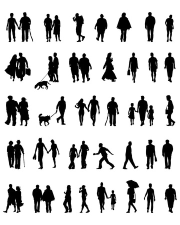 senior citizen: Silhouettes of people which walk, vector