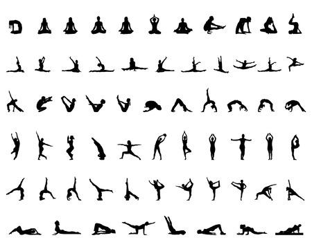 Siluetas de yoga y gimnasia, vector Vectores