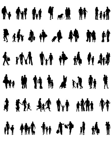 Black silhouettes of walking families , vector