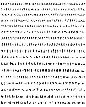 toreador: Big collection of people silhouettes, vector