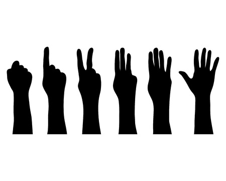 three pointer: Silhouettes of hands which count , vector