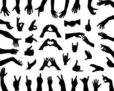 Silhouettes of hands, vector Stock Illustratie