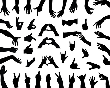 Silhouettes of hands, vector Çizim