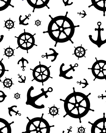 Seamless pattern with black silhouettes of rudder and anchor Illustration
