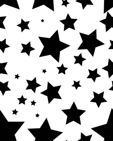 Seamless pattern with black stars on a white background Illustration