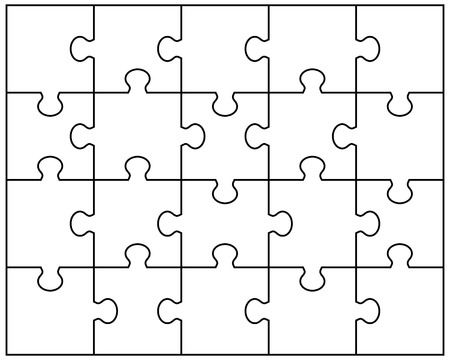 Vector Illustration of white puzzle separate pieces