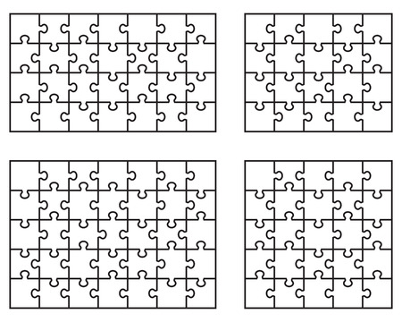 Vector Illustration of white puzzle separate pieces Vector