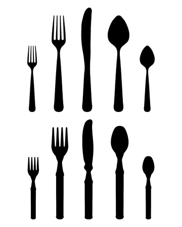 settings: Silhouettes of cutlery, vector Illustration