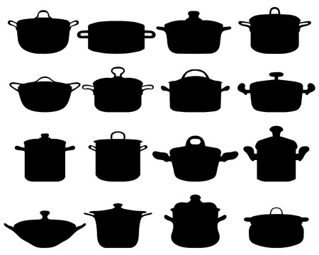 pots: Silhouettes of pots and pans, vector