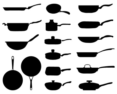 saute: Black silhouettes of a frying pan, vector