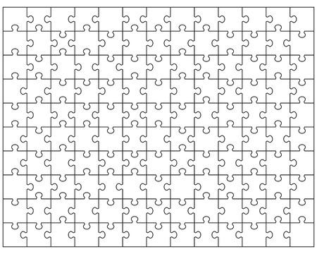 Vector Illustration of big white puzzle, separate pieces Vettoriali