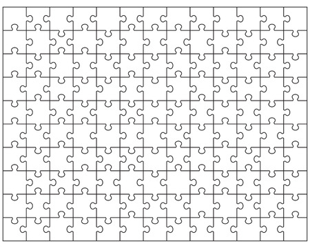Vector Illustration of big white puzzle, separate pieces Illustration