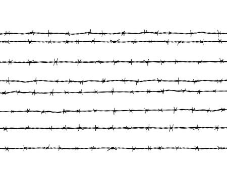 rope barrier: Black silhouette of the barbed wire