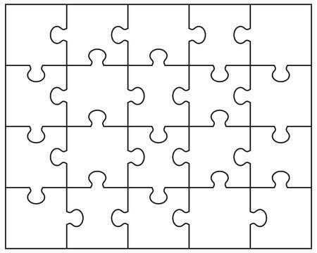Ilustración del vector del rompecabezas blanco, piezas separadas Foto de archivo - 42867646