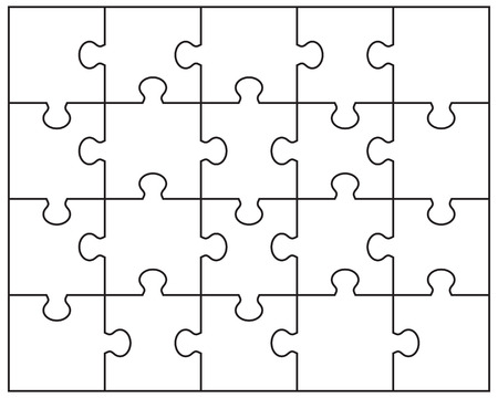 Vector Illustration of white puzzle, separate pieces