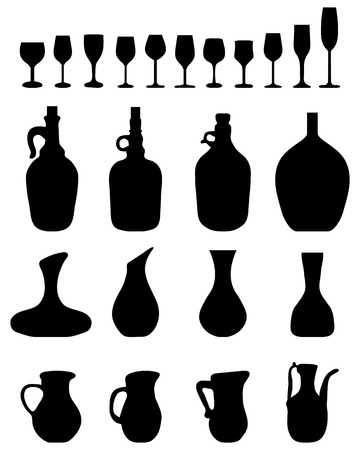 carafe: Black silhouettes of wine glasses and bottles, vector