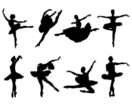 ballet slippers: Black silhouettes of  ballerinas on white background, vector