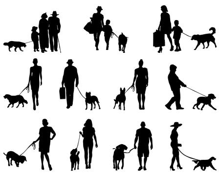 perro familia: Negro siluetas de personas con perros, vector