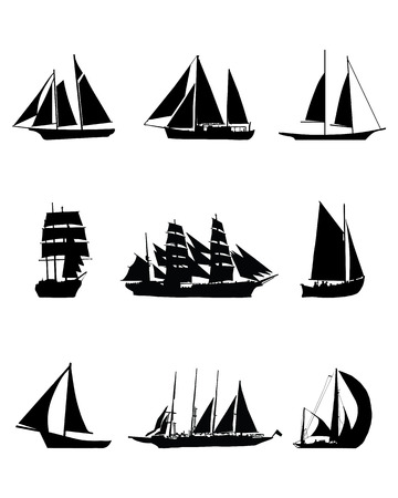 brigantine: Black silhouettes of sailing boats, vector illustration