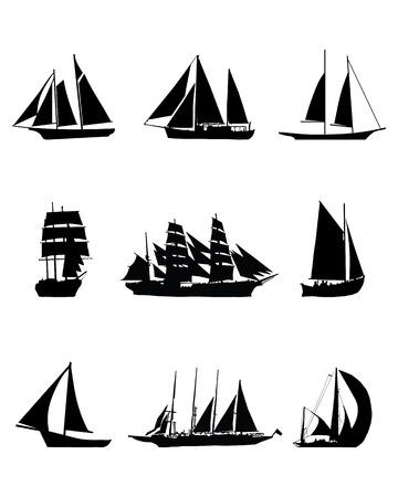 sailing boats: Black silhouettes of sailing boats, vector illustration