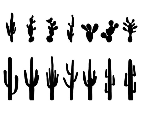Black silhouettes of different cactus, illustration