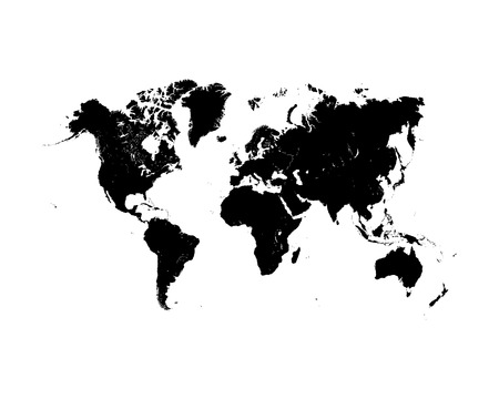 illustration of black detailed world map