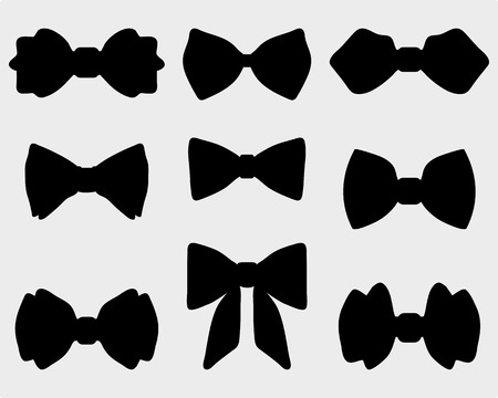 Black silhouettes of bow ties Vettoriali