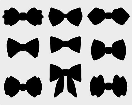 noeud papillon: Silhouettes noires des cravates