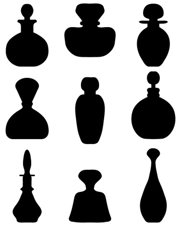 eau de toilette: Black silhouettes of perfume bottles