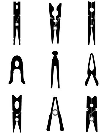 Black silhouettes of different clothespins