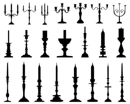 Zwarte silhouetten van kandelaars Stock Illustratie