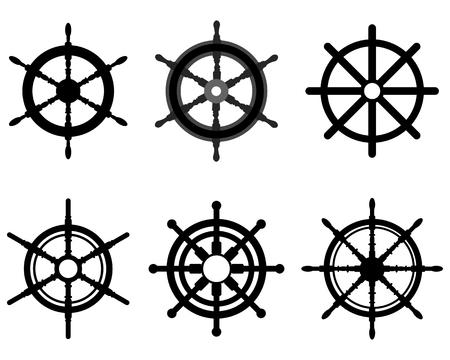 helm boat: Siluetas negras de diferentes timones, ilustración vectorial
