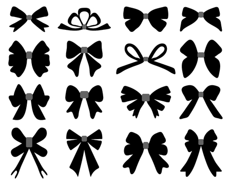 black bow: Black silhouette of different bows, vector illustration