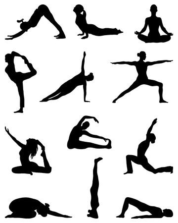 Black silhouettes of yoga and gymnastics, vector Vettoriali